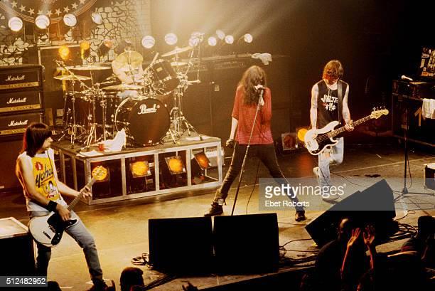 The Ramones performing at the Ritz in New York City on October 6 1990 LR Johnny Ramone Marky Ramone Joey Ramone CJ Ramone