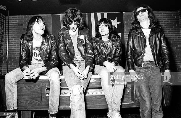 The Ramones pose backstage at the Old Waldorf club in January 1978 in San Francisco California