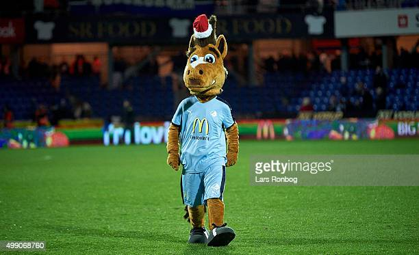 The Randers FC mascot McAnders walks on the pitch after the Danish Alka Superliga match between Randers FC and FC Nordsjalland at BioNutria Park on...