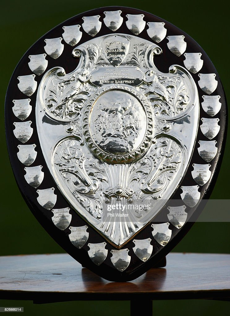 The Ranfurly Shield is pictured during the Air New Zealand Cup match between Auckland and Southland at Eden Park on September 6 2008 in Auckland New...