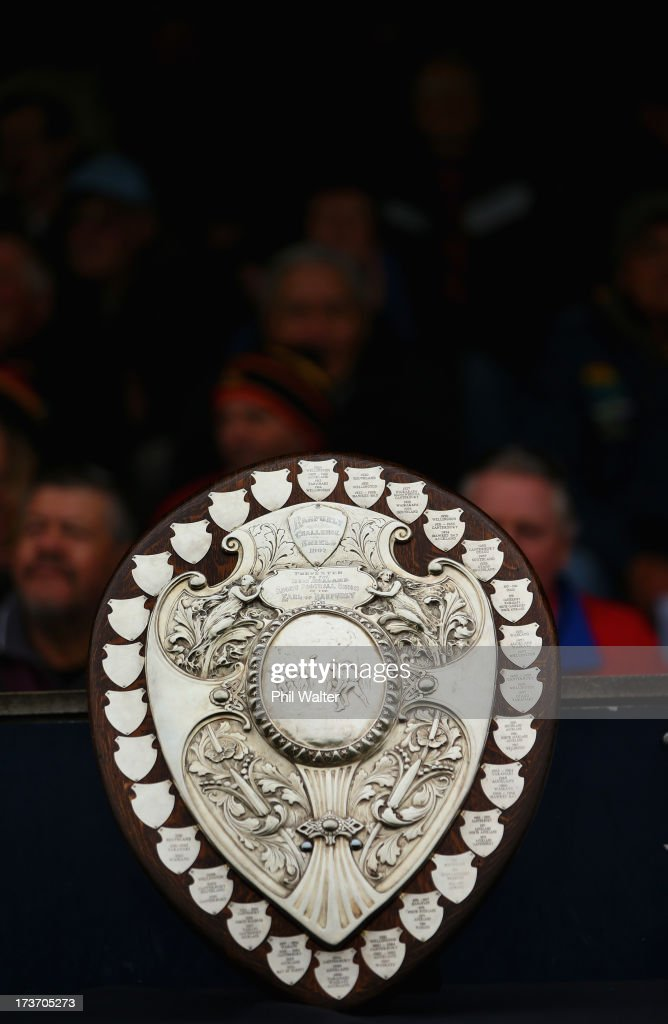 The Ranfurly Shield is pictured during the Ranfurly Shield match between Waikato and Horowhenua-Kapiti at the Morrinsville Domain on July 17, 2013 in Morrinsville, New Zealand.