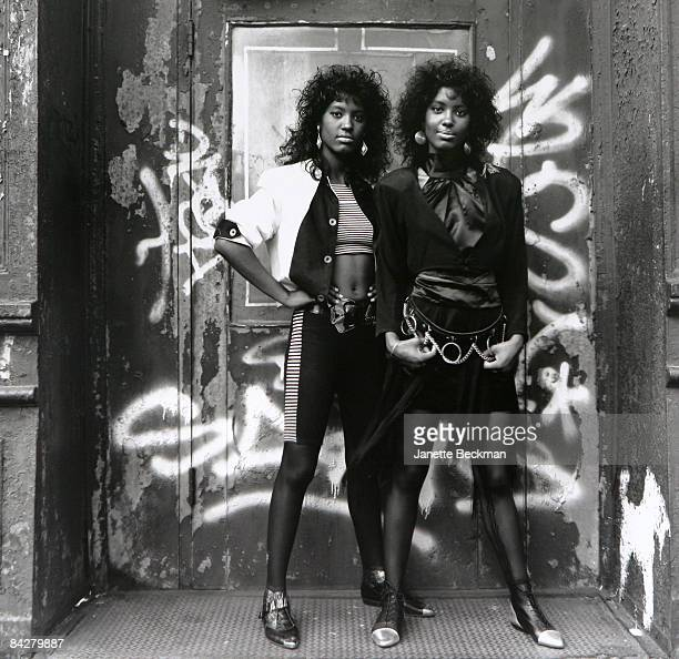 The rap duo Double Destiny twin sisters who hail from the Bronx pose in New York City 1989