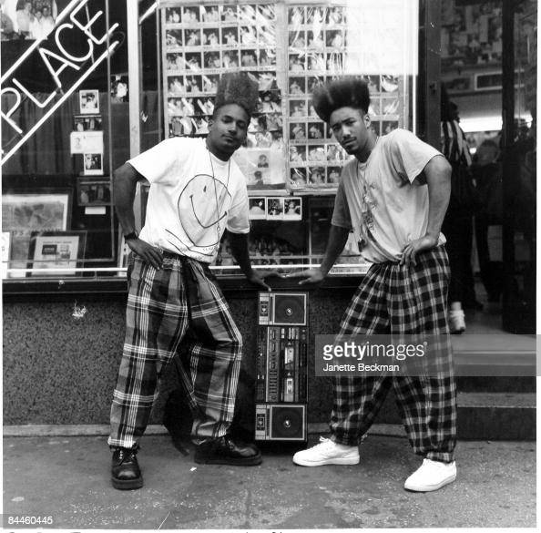 The rap duo Twin Towers pose outside the popular Astor Place barbershop in Manhattan 1991 They hold a boombox between them