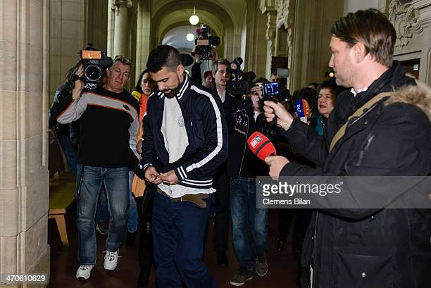 The rap musician Bushido leaves a court room after an assualt hearing on February 20 2014 in Berlin Germany Bushido was acquitted of the charge of...