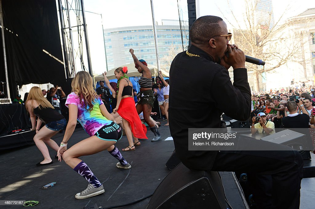 The rap singer BoB brought women up on the stage to 'Twerk' for the audience during his show at the Colorado 420 Rally in Civic Center Park in Denver...