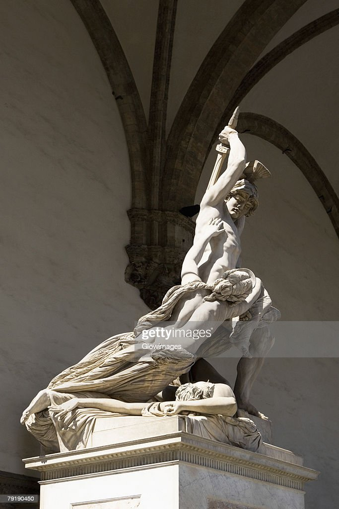'The Rape of Polyxena', sculpture by Pio Fedi (1816-1892), in 1866: Loggia dei Lanzi, Florence, Italy. : Stock Photo