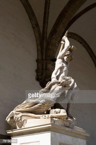 'The Rape of Polyxena', sculpture by Pio Fedi (1816-1892), in 1866: Loggia dei Lanzi, Florence, Italy. : Stock Photo