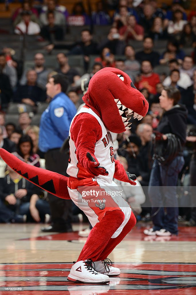 The Raptor gets the home crowd into the game against the New York Knicks on March 22, 2013 at the Air Canada Centre in Toronto, Ontario, Canada.
