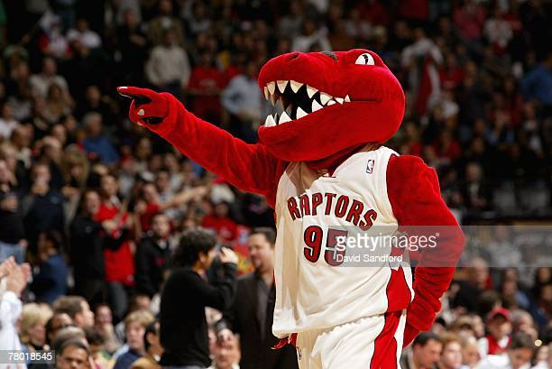 The Raptor walks around during a break in the game between the Boston Celtics and the Toronto Raptors on November 4 2007 at Air Canada Centre in...