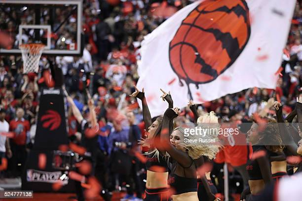 The Raptors Dance Pak celebrates the win as the Toronto Raptors beat Indiana Pacers in game five 10299 in their first round NBA playoff series at the...
