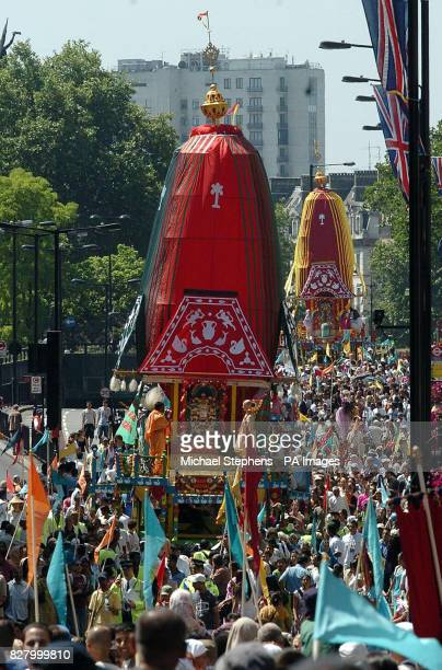 The Rathayatra Carnival of Chariots part of the Hare Krishna festival makes its way down London's Piccadilly to Trafalgar Square Hundreds of pilgrims...