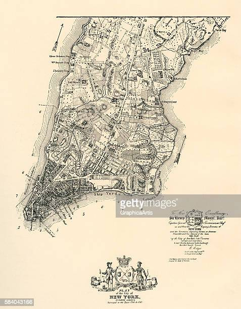 The Ratzer Map an antique map of Manhattan and the City of New York 1767 The map was commissioned by the British Governor Sir Henry Moore Engraving