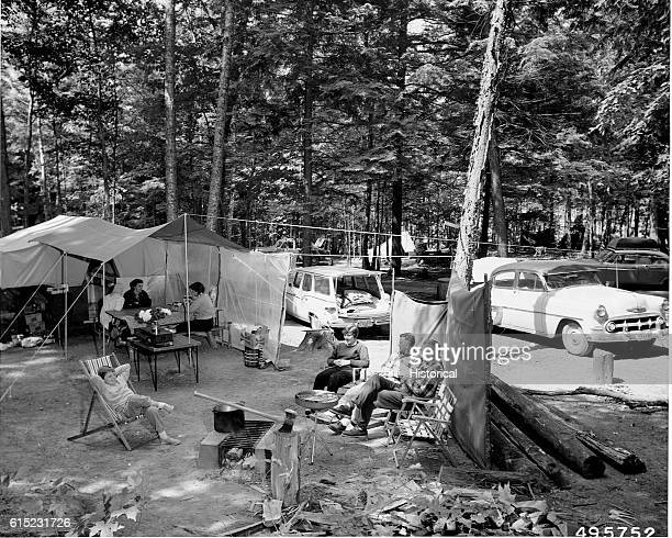 The Ray Klescewaki Family of Rhinelander Wisconsin camps at the Franklin Lake Campground of Nicolet National Forest Wisconsin July 5 1960 | Location...