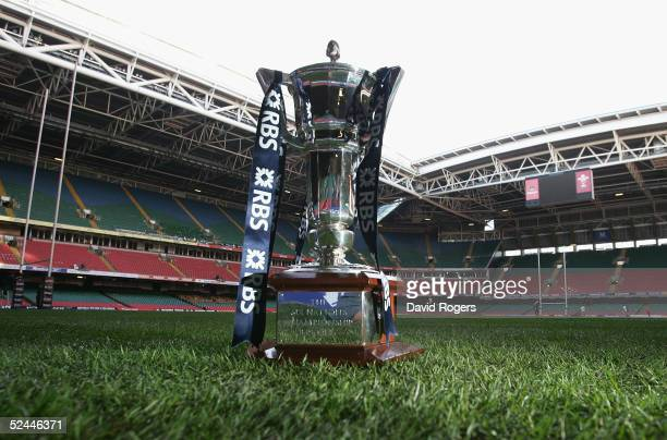 The RBS Six Nations trophy is seen at the Millennium Stadium prior to tomorrows RBS Six Nations International between Wales and Ireland at The...