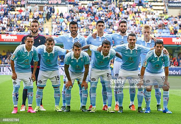The RC Celta de Vigo team pose prior to the the La Liga match between Villarreal CF and RC Celta de Vigo at El Madrigal Stadium on October 18 2015 in...