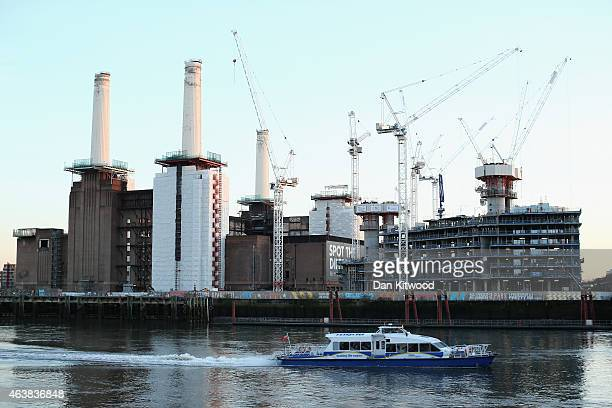 The re development of Battersea Power Station's and it's chimneys continues on February 17 2015 in London England As part of the extensive...