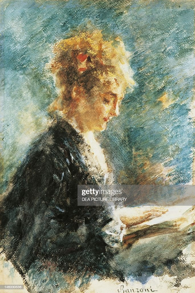 The Reader, 1878-1880, by Daniele Ranzoni (1843-1889), watercolor on paper, 33x49.5 cm.
