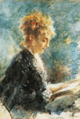 The Reader 18781880 by Daniele Ranzoni watercolor on paper 33x495 cm