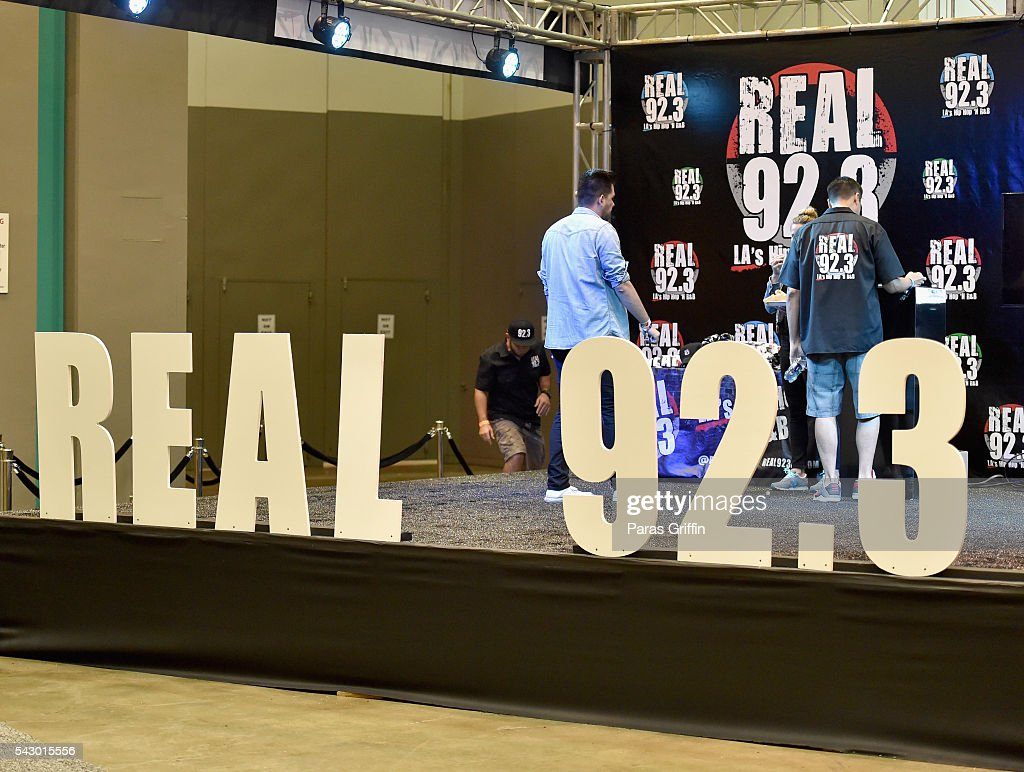 The Real 92.3 stage is seen at at FAN FEST during the 2016 BET Experience on June 25, 2016 in Los Angeles, California.