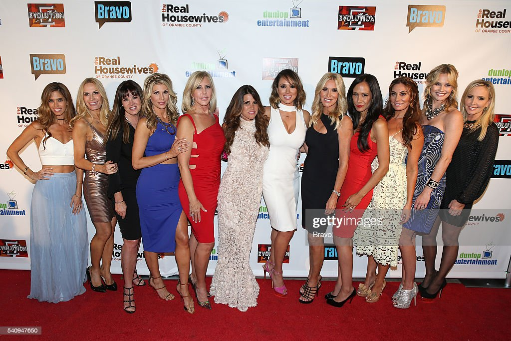 COUNTY -- 'The Real Housewives of Orange County' Season 11 Premiere Party in Los Angeles on June 16, 2016 -- Pictured: (l-r) Lydia McLaughlin, Peggy Tanous, Jeana Keough, <a gi-track='captionPersonalityLinkClicked' href=/galleries/search?phrase=Alexis+Bellino&family=editorial&specificpeople=6544408 ng-click='$event.stopPropagation()'>Alexis Bellino</a>, <a gi-track='captionPersonalityLinkClicked' href=/galleries/search?phrase=Vicki+Gunvalson&family=editorial&specificpeople=4616198 ng-click='$event.stopPropagation()'>Vicki Gunvalson</a>, Lynne Curtin, <a gi-track='captionPersonalityLinkClicked' href=/galleries/search?phrase=Kelly+Dodd+-+Television+Personality&family=editorial&specificpeople=16040471 ng-click='$event.stopPropagation()'>Kelly Dodd</a>, Lauri Peterson, <a gi-track='captionPersonalityLinkClicked' href=/galleries/search?phrase=Jo+De+La+Rosa&family=editorial&specificpeople=619465 ng-click='$event.stopPropagation()'>Jo De La Rosa</a>, <a gi-track='captionPersonalityLinkClicked' href=/galleries/search?phrase=Lizzie+Rovsek&family=editorial&specificpeople=12539399 ng-click='$event.stopPropagation()'>Lizzie Rovsek</a>, <a gi-track='captionPersonalityLinkClicked' href=/galleries/search?phrase=Meghan+King+Edmonds&family=editorial&specificpeople=14752799 ng-click='$event.stopPropagation()'>Meghan King Edmonds</a>, <a gi-track='captionPersonalityLinkClicked' href=/galleries/search?phrase=Shannon+Beador&family=editorial&specificpeople=12539398 ng-click='$event.stopPropagation()'>Shannon Beador</a> --