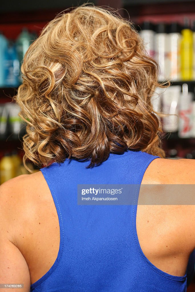 'The Real Housewives Of Orange County' star Alexis Bellino (hair detail) visits a hair salon on July 22, 2013 in Anaheim, California.