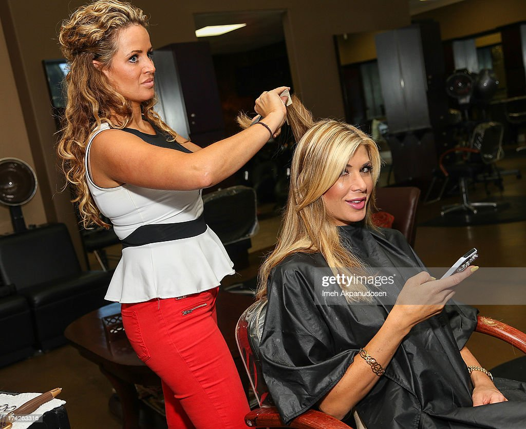 'The Real Housewives Of Orange County' star Alexis Bellino visits a hair salon on July 22, 2013 in Anaheim, California.