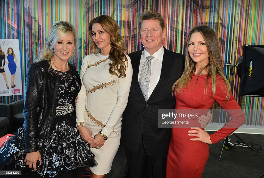 The Real Housewives of Vancouver Jody Claman, Ronnie Negus and Mary Zilba with Shaw Media president Paul Robertson at the Shaw Media Press Conference held at the Shaw Media Building on December 12, 2012 in Toronto, Canada.