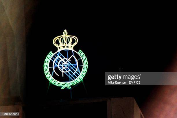 The Real Madrid badge in lights