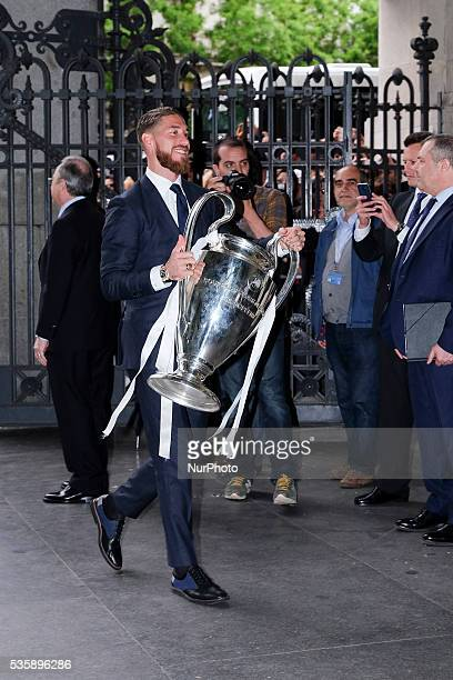 The Real Madrid player Sergio Ramos during the celebration after winning the UEFA Champions League final received at the seat of presidency of the...
