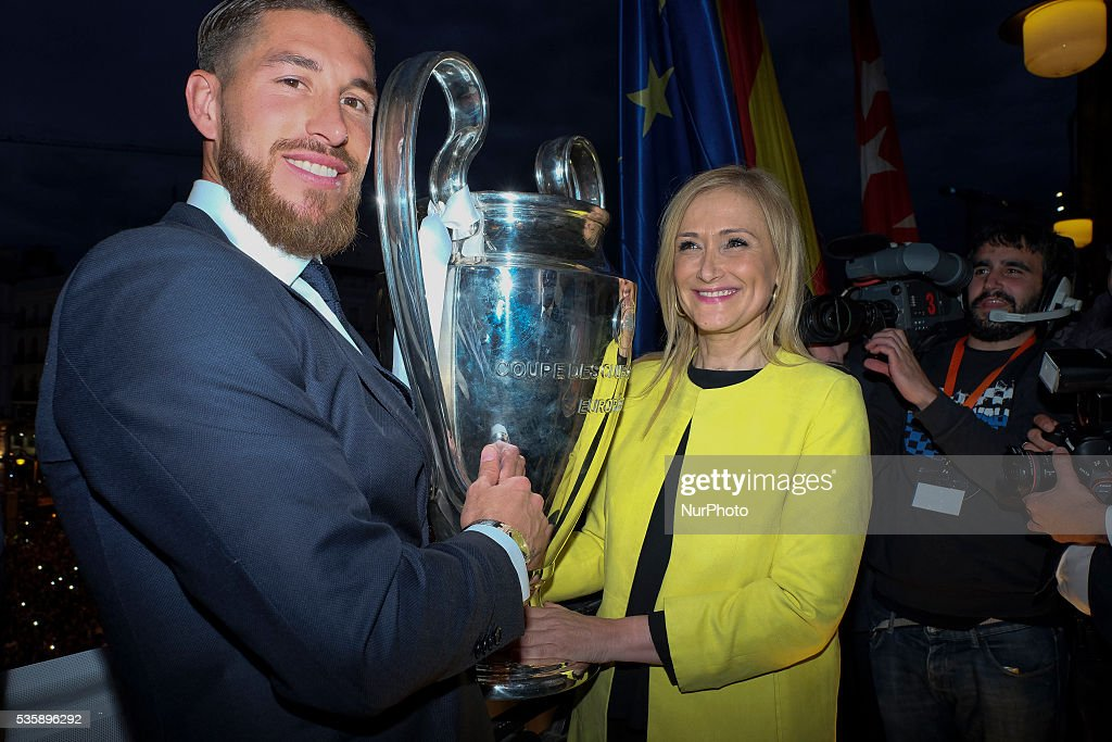 The Real Madrid player Sergio Ramos during the celebration after winning the UEFA Champions League final, received at the seat of presidency of the Community of Madrid. Spain on May 29, 2016