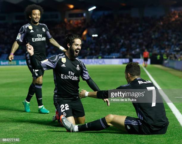 The Real Madrid team celebrate after scoring during the La Liga match between RC Celta de Vigo and Real Madrid CF at Estadio Balaidos on May 17 2017...