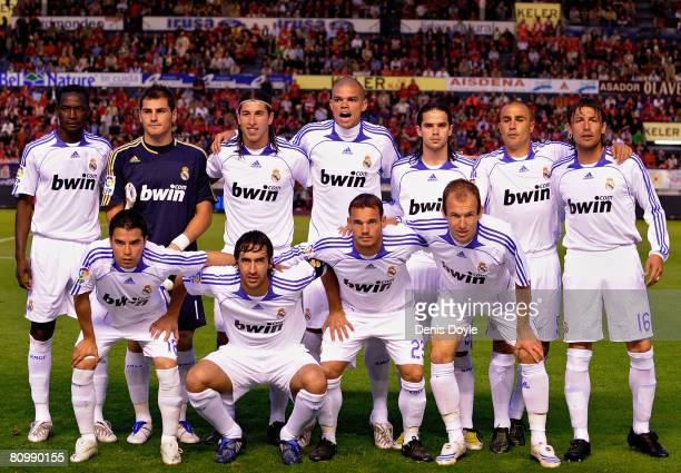 The Real Madrid team lineup before the start of the La Liga match between Osasuna and Real Madrid at the Reyno de Navarra stadium on May 4 2008 in...