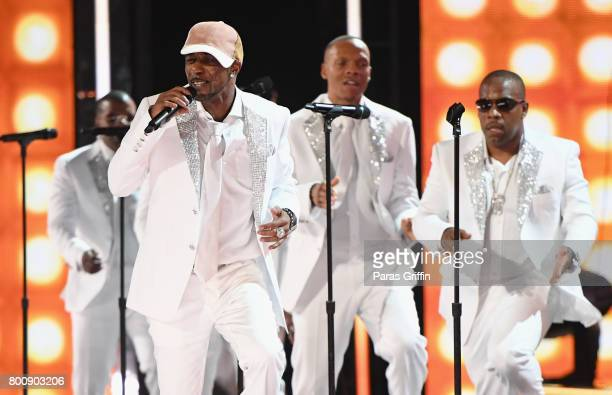 The real members of New Edition perform onstage at 2017 BET Awards at Microsoft Theater on June 25 2017 in Los Angeles California