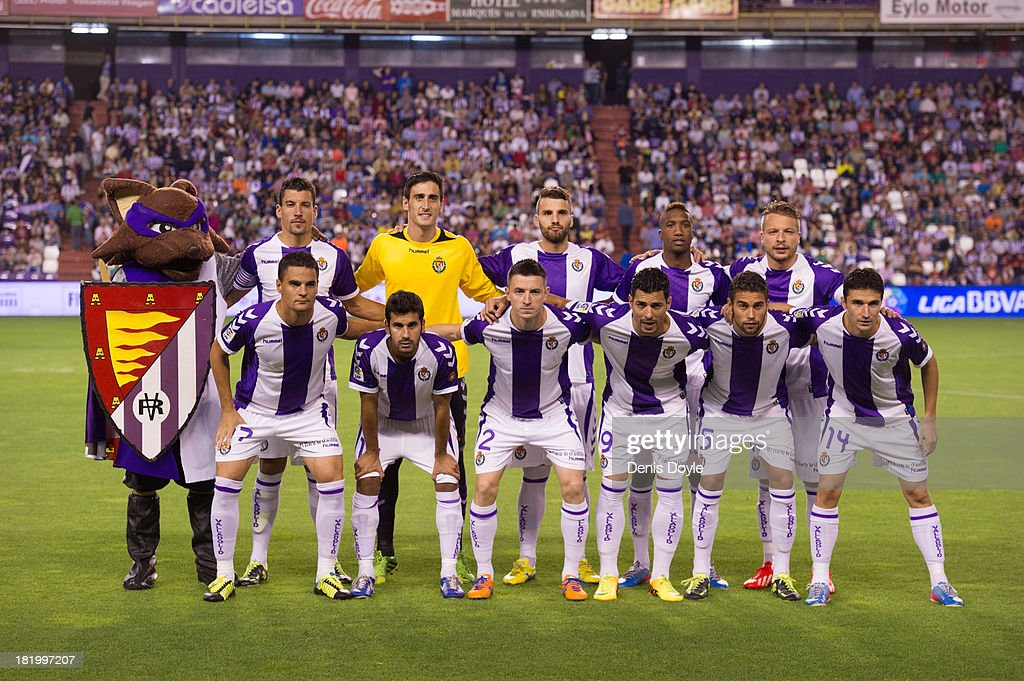 The Real Valladolid team lines-up before the La liga match between of Real Valladolid CF and Club Atletico de Madrid at Estadio Jose Zorilla on September 21, 2013 in Valladolid, Spain.