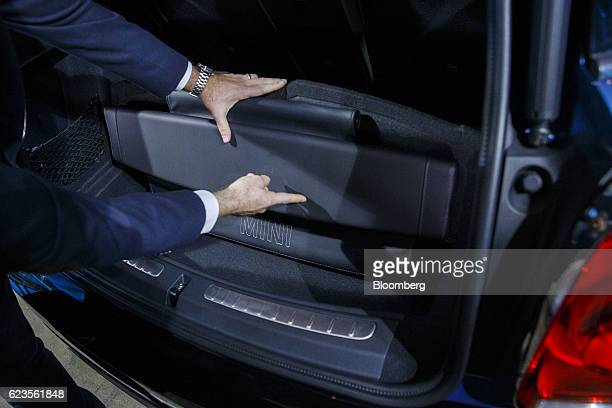 The rear bumper seat cover of the Bayerische Motoren Werke AG MINI Countryman compact sports utility vehicle is displayed during an event in Los...
