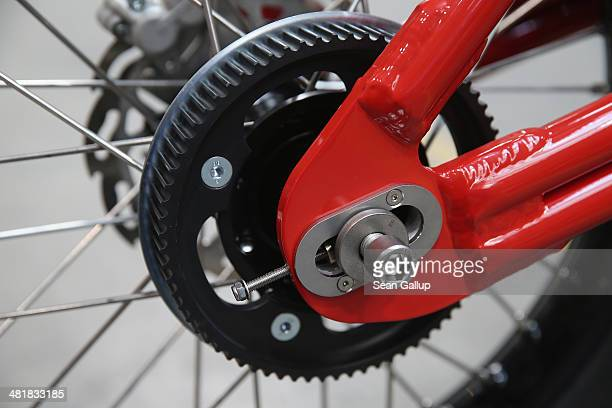 The rear cam wheel is shown mounted on an eRockit highpowered electric bicycle at the company's production site on April 1 2014 in Berlin Germany The...
