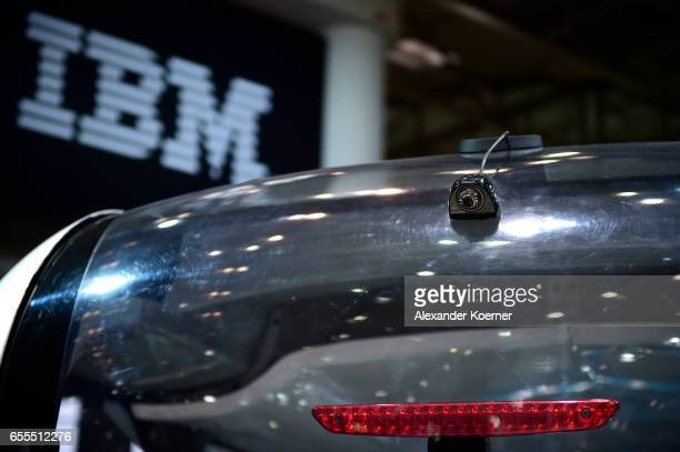 The rear camera of the bus 'Olli' an autonomous transportation system is presented at the IBM stand at the CeBIT 2017 Technology Trade Fair on March...