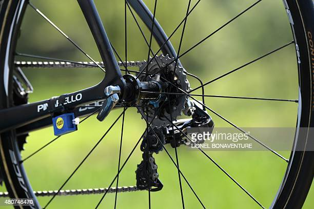 The rear derailleur of the rear wheel of the bike of Great Britain's Christopher Froome is pictured during the 188 km eleventh stage of the 102nd...
