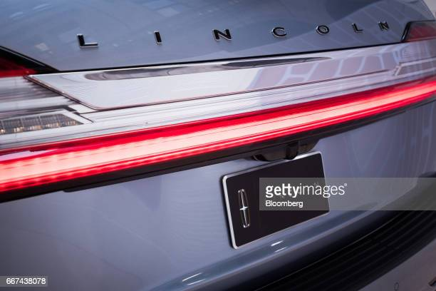 The rear of a Ford Motor Co Lincoln Navigator sports utility vehicle is seen during an event ahead of the 2017 New York International Auto Show in...