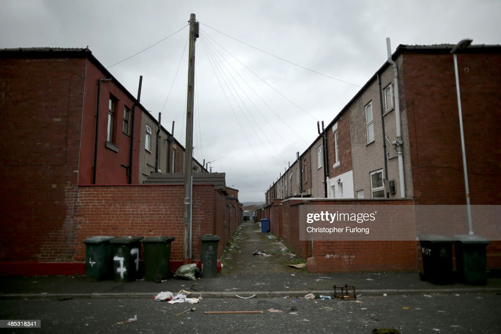 The rear of Equitable and Pioneer Streets in Rochdale some of the first social houses built by the Rochdale Pioneers the founders of the modern...