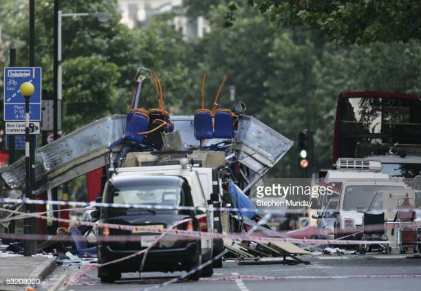 The rear of the bus that was destroyed by an explosion at Tavistock Square during a series of explosions which ripped through London's underground...