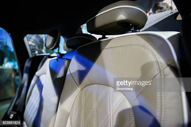 The rear seat stitching of the Bayerische Motoren Werke AG MINI Countryman compact sports utility vehicle is displayed during an event in Los Angeles...