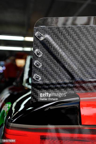 The rear spoiler on the EarnhardtGanassi Racing Chevrolet is seen during NASCAR Sprint Cup Series testing at Charlotte Motor Speedway on October 14...