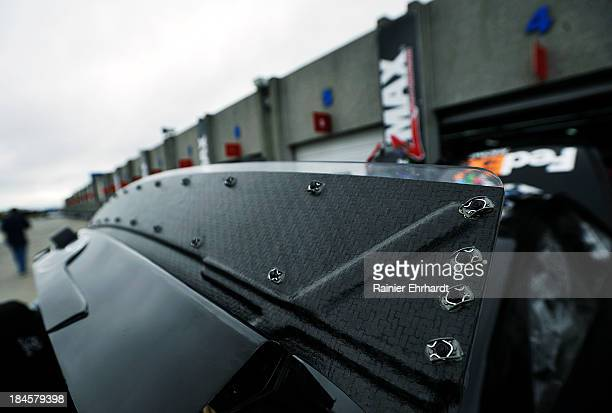 The rear spoiler on the Joe Gibbs Racing Toyota is seen during NASCAR Sprint Cup Series testing at Charlotte Motor Speedway on October 14 2013 in...
