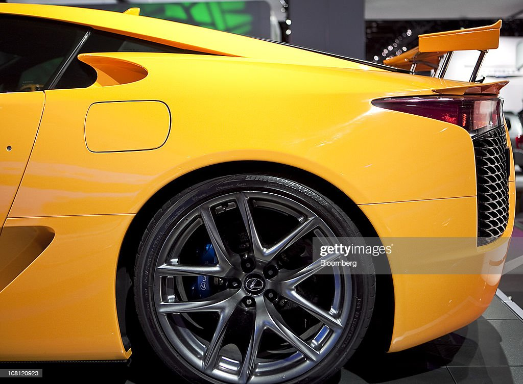 The rear wheel of a Toyota Motor Corp. Lexus LFA supercar sits on display during the North American International Auto Show (NAIAS) in Detroit, Michigan, U.S., on Wednesday, Jan. 12, 2011. The 2011 Detroit auto show runs through Jan. 23 and features more than 30 new vehicle premieres. Photographer: Keyur Khamar/Bloomberg via Getty Images