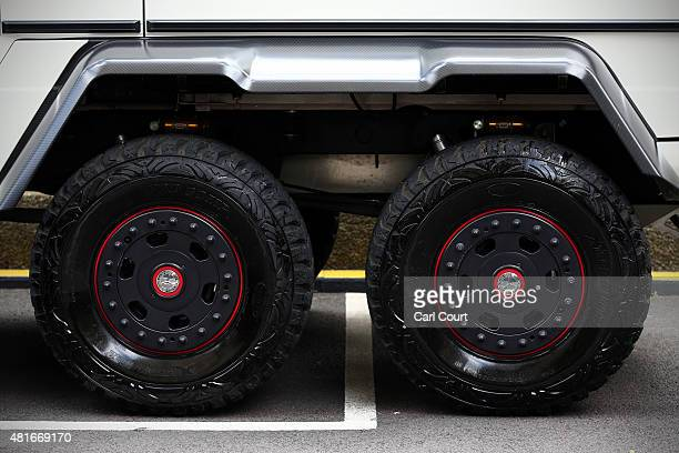 The rear wheels of a Saudi Arabian registered Mercedes G63 AMG 6x6 are pictured on July 21 2015 in Knightsbridge in London England Knightsbridge has...