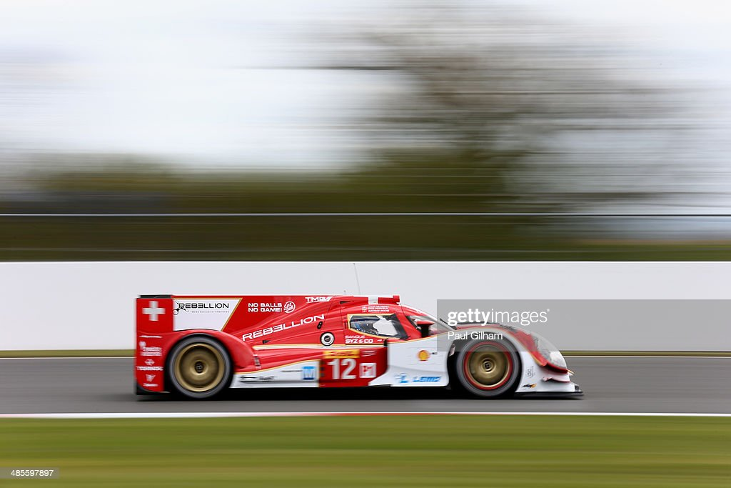 The #12 Rebellion Racing Lola B12/60 Toyota driven by Nicolas Prost of France, Nick Heidfeld of Germany and Mathias Beche of Switzerland during qualifying for the FIA World Endurance Championship 6 Hours of Silverstone sportscar race at the Silverstone Circuit on April 19, 2014 in Northampton, England.