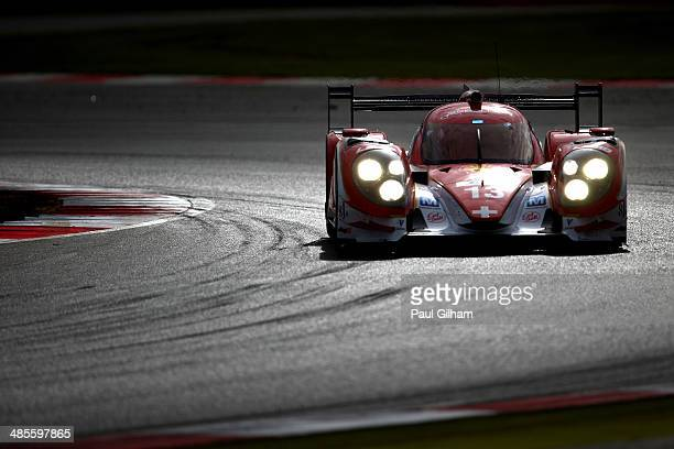 The Rebellion Racing Lola B12/60 Toyota LMP1 driven by Fabio Lemer of Switzerland Andrea Belicchi of Italy and Dominik Kraihamer of Austria during...