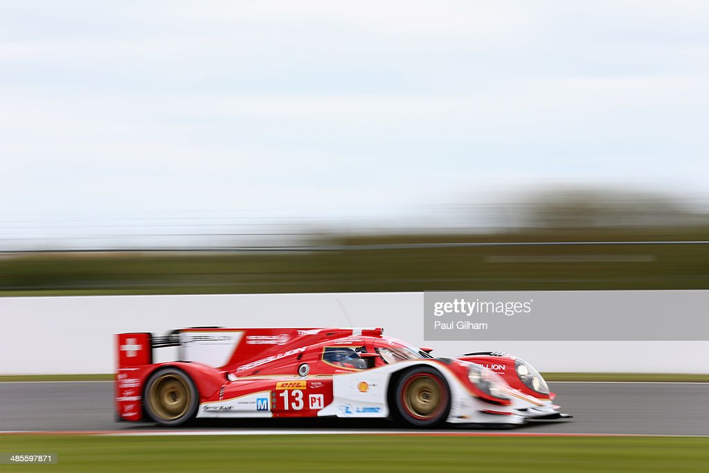 The #13 Rebellion Racing Lola B12/60 Toyota LMP1 driven by Fabio Lemer of Switzerland, Andrea Belicchi of Italy and Dominik Kraihamer of Austria during qualifying for the FIA World Endurance Championship 6 Hours of Silverstone sportscar race at the Silverstone Circuit on April 19, 2014 in Northampton, England.