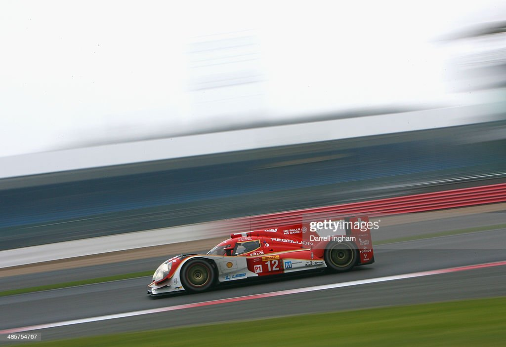The #12 Rebellion Racing Lola B12/60 Toyota LMP1 driven by Nicolas Prost of France, Nick Heidfeld of Germany and Mathias Beche of Switzerland during the FIA World Endurance Championship 6 Hours of Silverstone sportscar race at the Silverstone Circuit on April 20, 2014 in Northampton, England.
